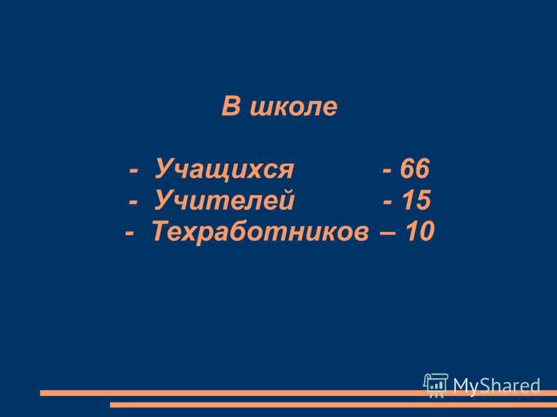 В школе - Учащихся - 66 - Учителей - 15 - Техработников – 10