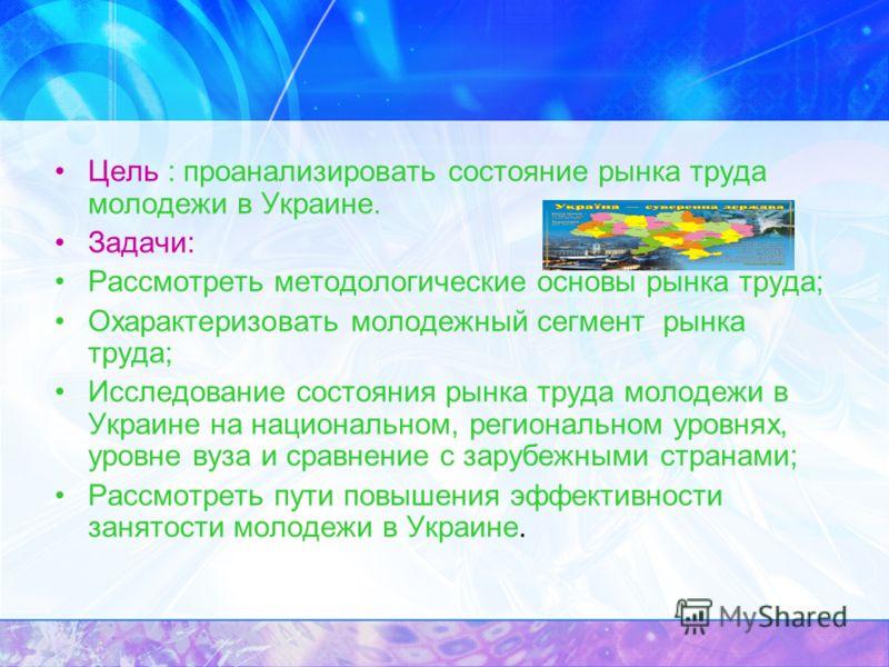 Цель : проанализировать состояние рынка труда молодежи в Украине. Задачи: Рассмотреть методологические основы рынка труда; Охарактеризовать молодежный сегмент рынка труда; Исследование состояния рынка труда молодежи в Украине на национальном, региона