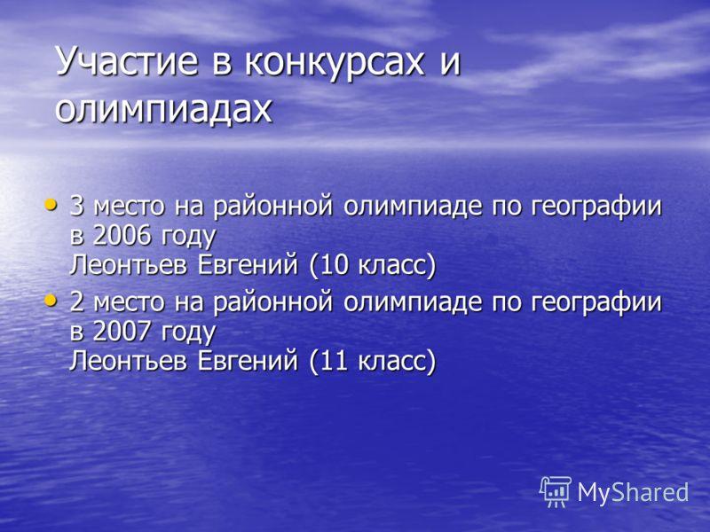 3 место на районной олимпиаде по географии в 2006 году Леонтьев Евгений (10 класс) 3 место на районной олимпиаде по географии в 2006 году Леонтьев Евгений (10 класс) 2 место на районной олимпиаде по географии в 2007 году Леонтьев Евгений (11 класс) 2