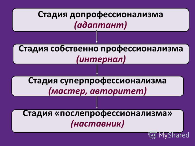 Стадия допрофессионализма (адаптант) Стадия собственно профессионализма (интернал) Стадия «послепрофессионализма» (наставник) Стадия суперпрофессионализма (мастер, авторитет)