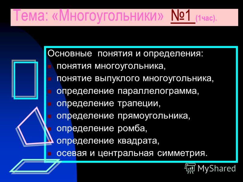 Основные понятия и определения: понятия многоугольника, понятие выпуклого многоугольника, определение параллелограмма, определение трапеции, определение прямоугольника, определение ромба, определение квадрата, осевая и центральная симметрия. Тема: «М