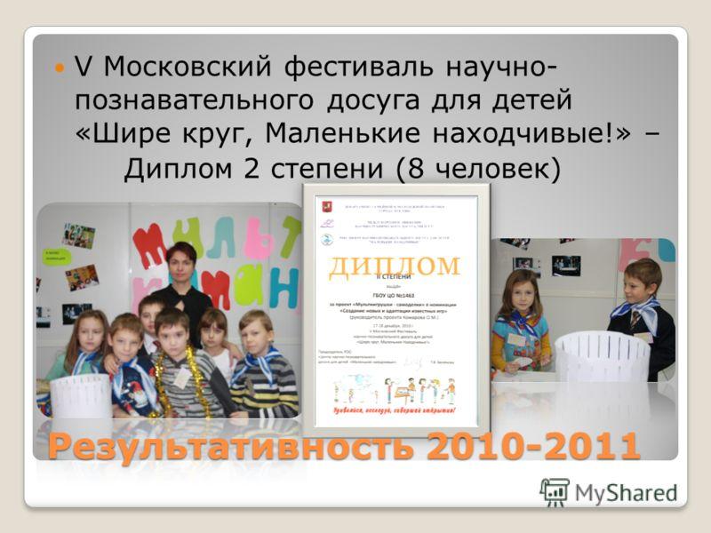 Результативность 2010-2011 V Московский фестиваль научно- познавательного досуга для детей «Шире круг, Маленькие находчивые!» – Диплом 2 степени (8 человек)