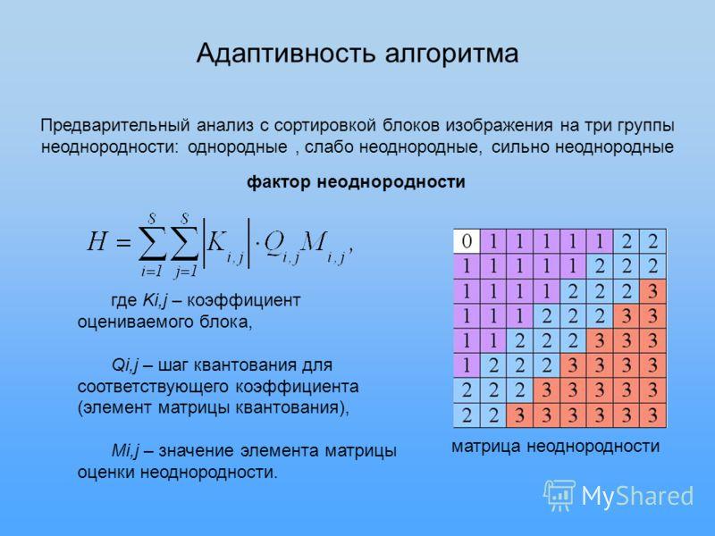 Адаптивность алгоритма Предварительный анализ с сортировкой блоков изображения на три группы неоднородности: однородные, слабо неоднородные, сильно неоднородные фактор неоднородности матрица неоднородности где Ki,j – коэффициент оцениваемого блока, Q