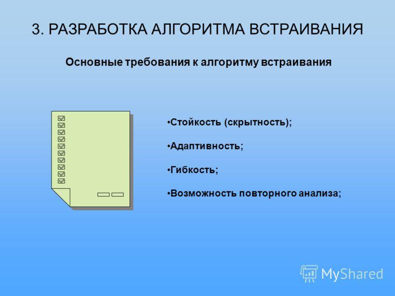 3. РАЗРАБОТКА АЛГОРИТМА ВСТРАИВАНИЯ Основные требования к алгоритму встраивания Стойкость (скрытность); Адаптивность; Гибкость; Возможность повторного анализа;