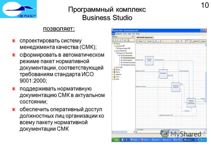 Программный комплекс Business Studio спроектировать систему менеджмента качества (СМК); сформировать в автоматическом режиме пакет нормативной документации, соответствующей требованиям стандарта ИСО 9001:2000; поддерживать нормативную документацию СМ