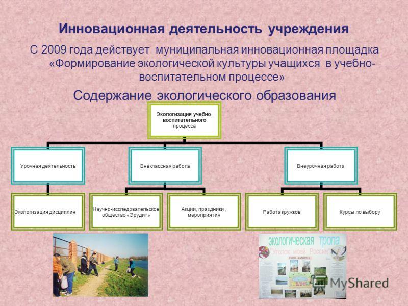 Инновационная деятельность учреждения С 2009 года действует муниципальная инновационная площадка «Формирование экологической культуры учащихся в учебно- воспитательном процессе» Содержание экологического образования Экологизация учебно- воспитательно