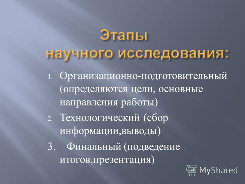 1. Организационно - подготовительный ( определяются цели, основные направления работы ) 2. Технологический ( сбор информации, выводы ) 3. Финальный ( подведение итогов, презентация )