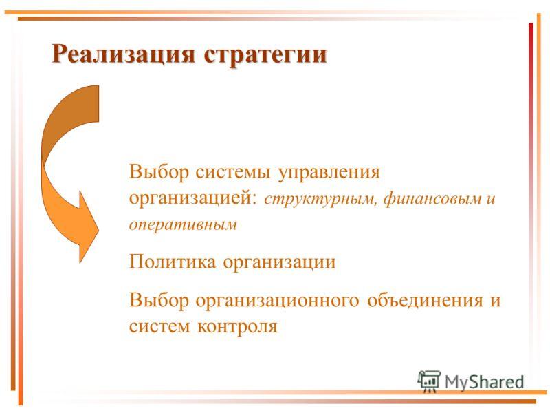 Реализация стратегии Выбор системы управления организацией: структурным, финансовым и оперативным Политика организации Выбор организационного объединения и систем контроля
