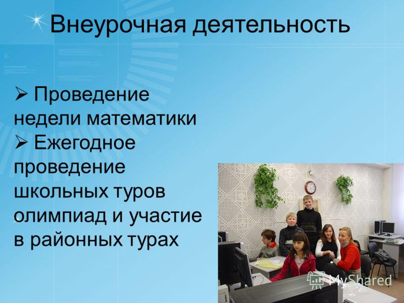 Внеурочная деятельность Проведение недели математики Ежегодное проведение школьных туров олимпиад и участие в районных турах