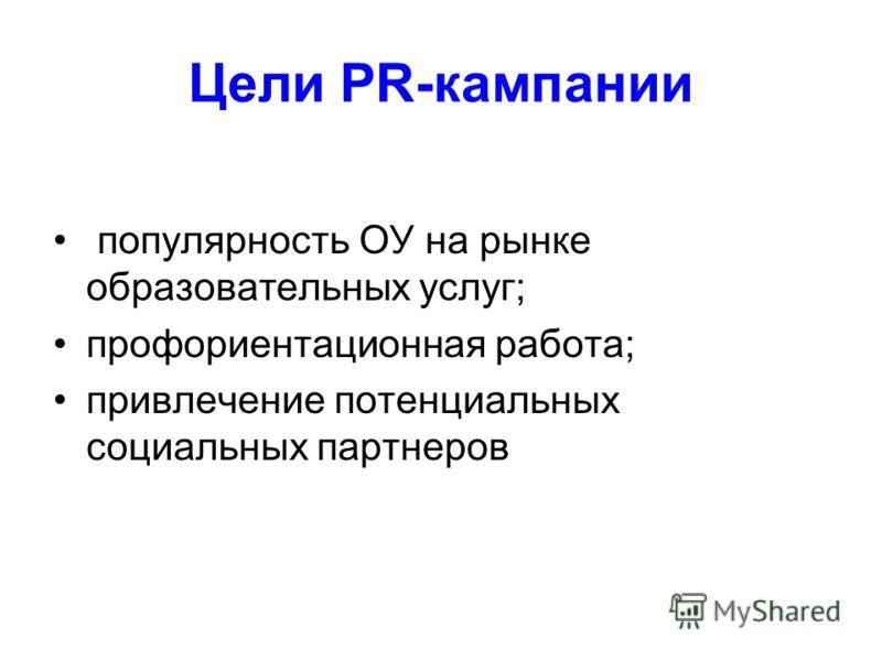 Цели PR-кампании популярность ОУ на рынке образовательных услуг; профориентационная работа; привлечение потенциальных социальных партнеров