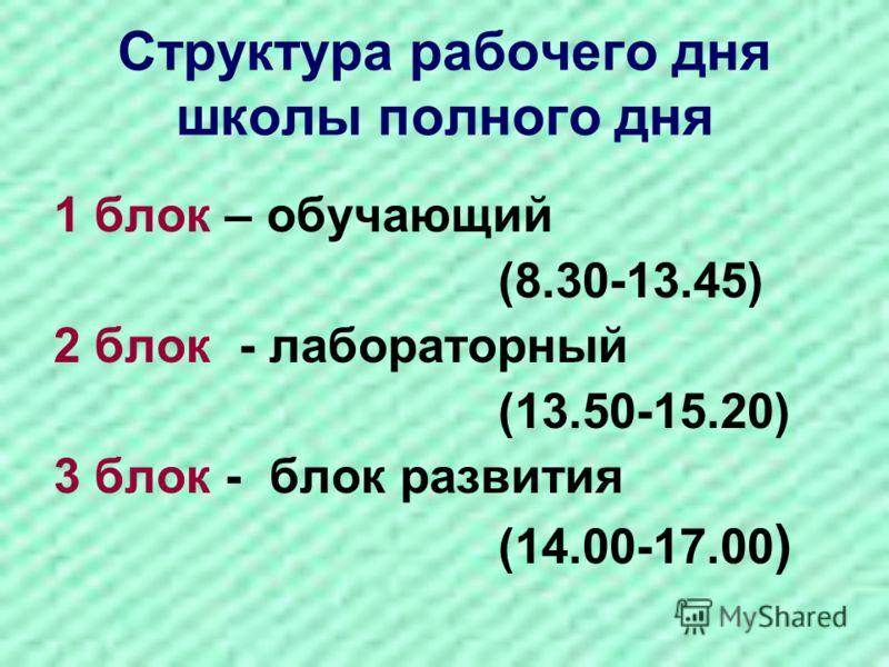 Структура рабочего дня школы полного дня 1 блок – обучающий (8.30-13.45) 2 блок - лабораторный (13.50-15.20) 3 блок - блок развития (14.00-17.00 )
