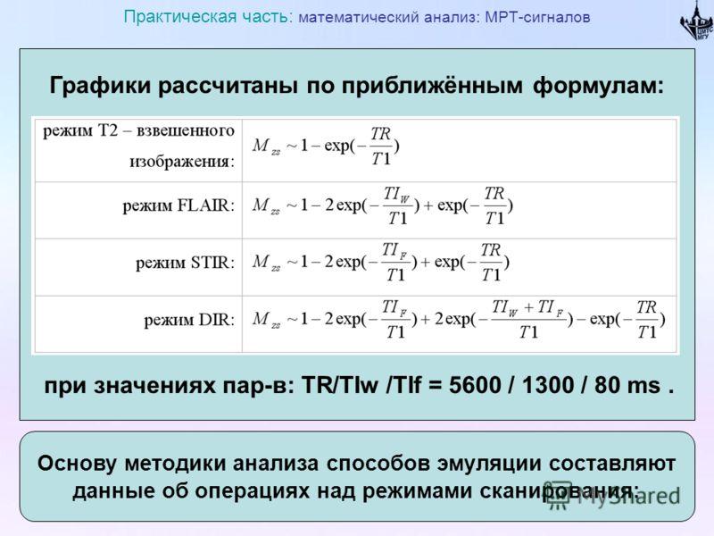 Графики рассчитаны по приближённым формулам: при значениях пар-в: TR/TIw /TIf = 5600 / 1300 / 80 ms. Практическая часть: математический анализ: МРТ-сигналов Основу методики анализа способов эмуляции составляют данные об операциях над режимами сканиро