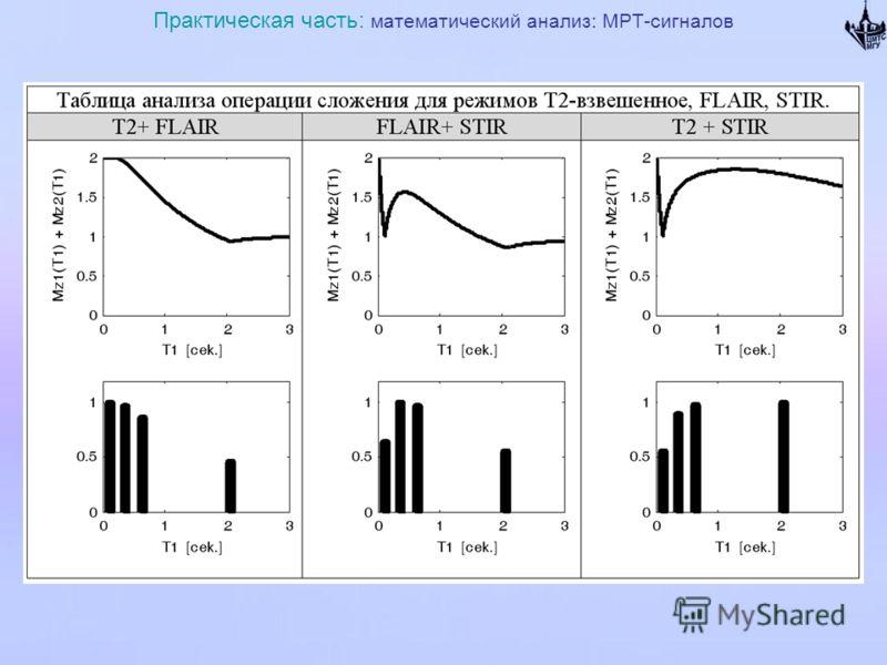 Практическая часть: математический анализ: МРТ-сигналов