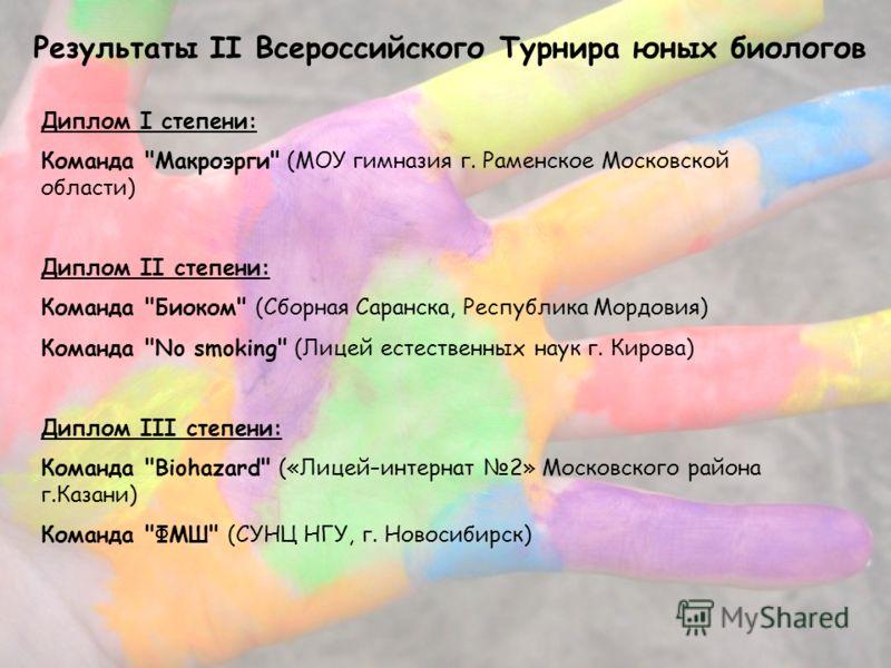 Результаты II Всероссийского Турнира юных биологов Диплом I степени: Команда
