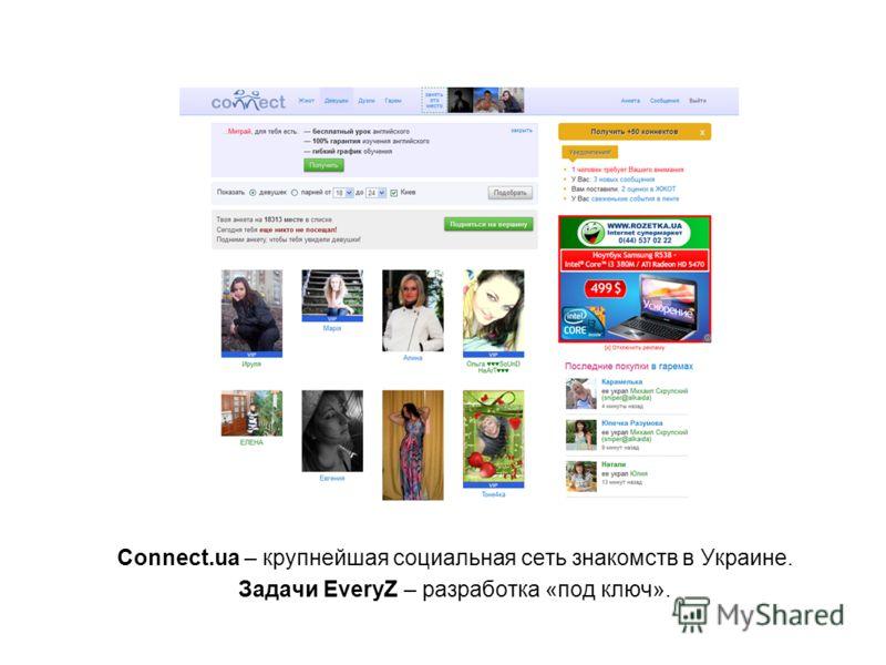 Connect.ua – крупнейшая социальная сеть знакомств в Украине. Задачи EveryZ – разработка «под ключ».