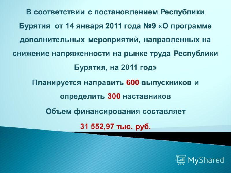 В соответствии с постановлением Республики Бурятия от 14 января 2011 года 9 «О программе дополнительных мероприятий, направленных на снижение напряженности на рынке труда Республики Бурятия, на 2011 год» Планируется направить 600 выпускников и опреде