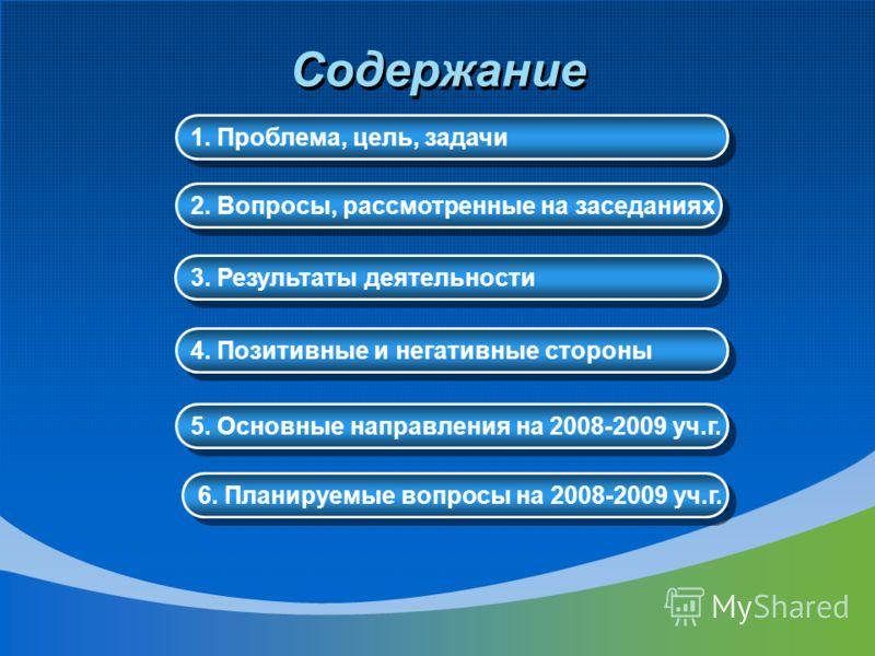 Содержание 2. Вопросы, рассмотренные на заседаниях 3. Результаты деятельности 4. Позитивные и негативные стороны 5. Основные направления на 2008-2009 уч.г. 6. Планируемые вопросы на 2008-2009 уч.г. 1. Проблема, цель, задачи