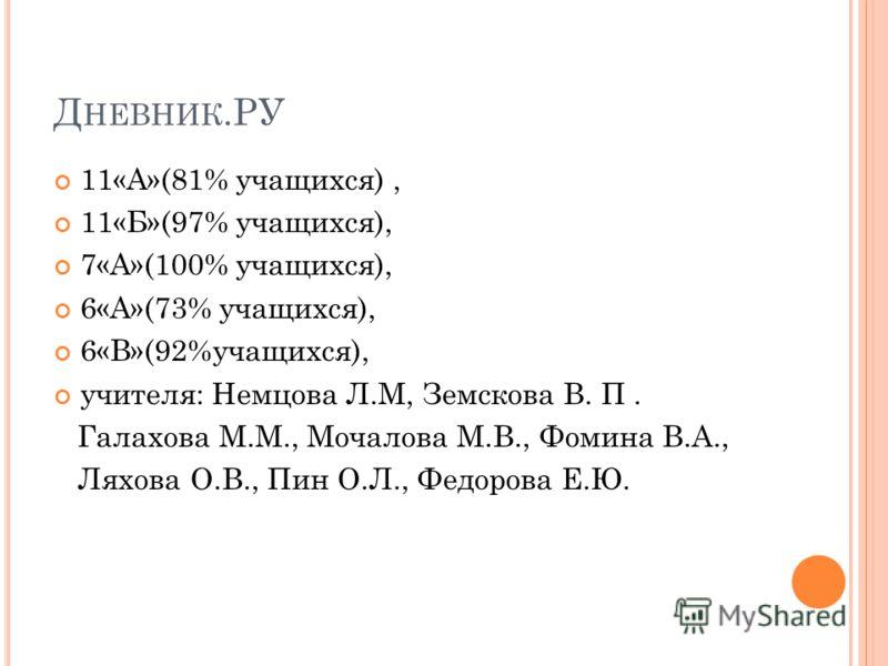 Д НЕВНИК.РУ 11«А»(81% учащихся), 11«Б»(97% учащихся), 7«А»(100% учащихся), 6«А»(73% учащихся), 6«В»(92%учащихся), учителя: Немцова Л.М, Земскова В. П. Галахова М.М., Мочалова М.В., Фомина В.А., Ляхова О.В., Пин О.Л., Федорова Е.Ю.