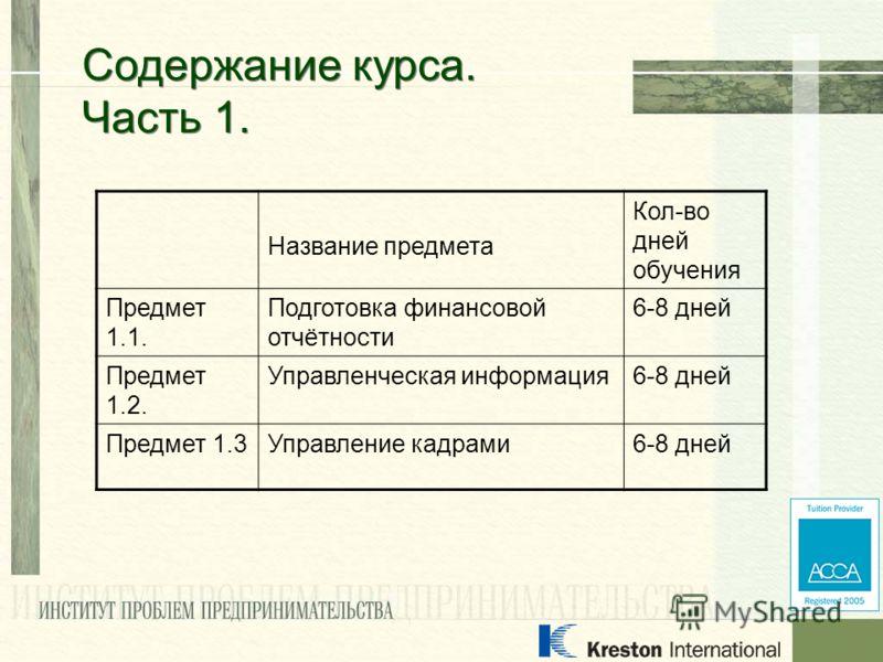 Название предмета Кол-во дней обучения Предмет 1.1. Подготовка финансовой отчётности 6-8 дней Предмет 1.2. Управленческая информация6-8 дней Предмет 1.3Управление кадрами6-8 дней Содержание курса. Часть 1.