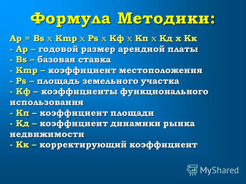 Формула Методики: Ap = Bs х Kmp х Ps х Кф х Кп х Кд х Kк - Ap – годовой размер арендной платы - Bs – базовая ставка - Kmp – коэффициент местоположения - Ps – площадь земельного участка - Кф – коэффициенты функционального использования - Кп – коэффици