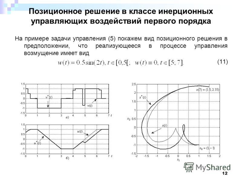 12 Позиционное решение в классе инерционных управляющих воздействий первого порядка На примере задачи управления (5) покажем вид позиционного решения в предположении, что реализующееся в процессе управления возмущение имеет вид (11)