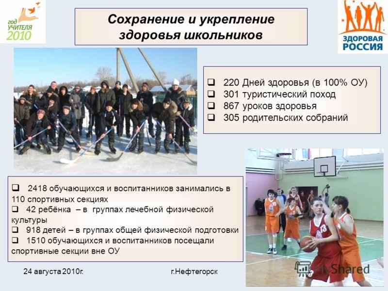 24 августа 2010г.г.Нефтегорск23 Сохранение и укрепление здоровья школьников 2418 обучающихся и воспитанников занимались в 110 спортивных секциях 42 ребёнка – в группах лечебной физической культуры 918 детей – в группах общей физической подготовки 151