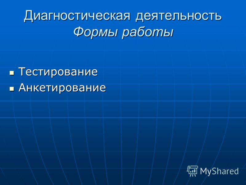 Диагностическая деятельность Формы работы Тестирование Тестирование Анкетирование Анкетирование