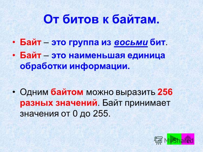 От битов к байтам. Байт – это группа из восьми бит. Байт – это наименьшая единица обработки информации. Одним байтом можно выразить 256 разных значений. Байт принимает значения от 0 до 255.