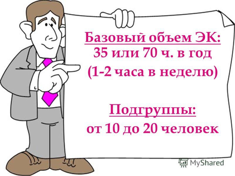 Базовый объем ЭК: 35 или 70 ч. в год (1-2 часа в неделю) Подгруппы: от 10 до 20 человек