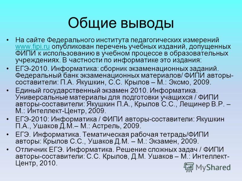 Общие выводы На сайте Федерального института педагогических измерений www.fipi.ru опубликован перечень учебных изданий, допущенных ФИПИ к использованию в учебном процессе в образовательных учреждениях. В частности по информатике это издания: www.fipi