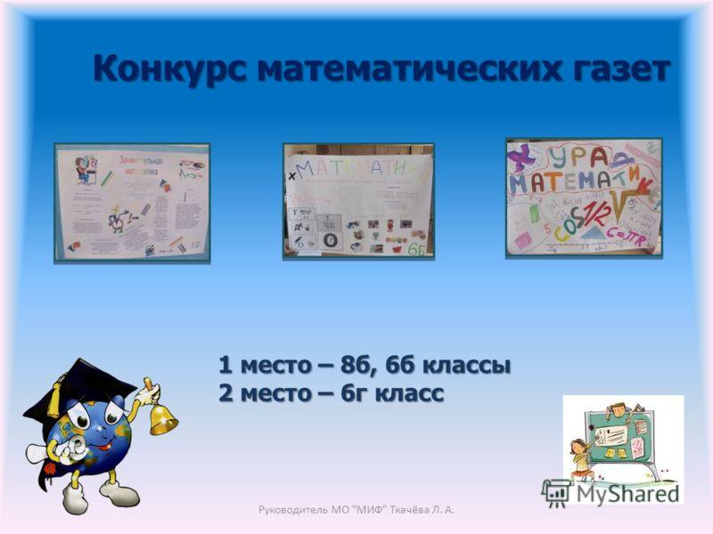 Конкурс математических газет Руководитель МО МИФ Ткачёва Л. А. 1 место – 8б, 6б классы 2 место – 6г класс