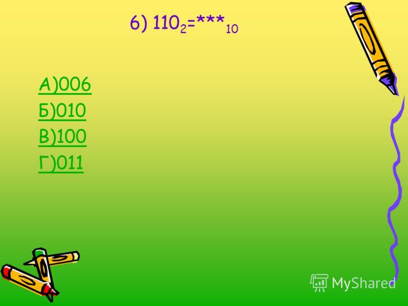6) 110 2 =*** 10 А)006 Б)010 В)100 Г)011