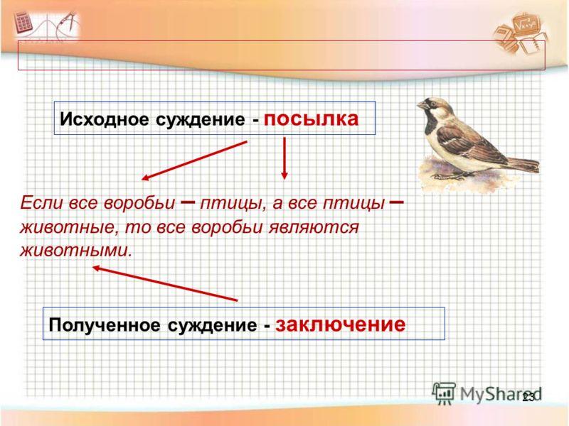 23 Исходное суждение - посылка Полученное суждение - заключение Если все воробьи – птицы, а все птицы – животные, то все воробьи являются животными.