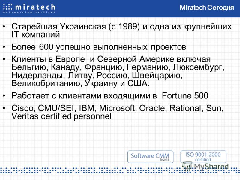 Miratech Сегодня Старейшая Украинская (с 1989) и одна из крупнейших IT компаний Более 600 успешно выполненных проектов Клиенты в Европе и Северной Америке включая Бельгию, Канаду, Францию, Германию, Люксембург, Нидерланды, Литву, Россию, Швейцарию, В