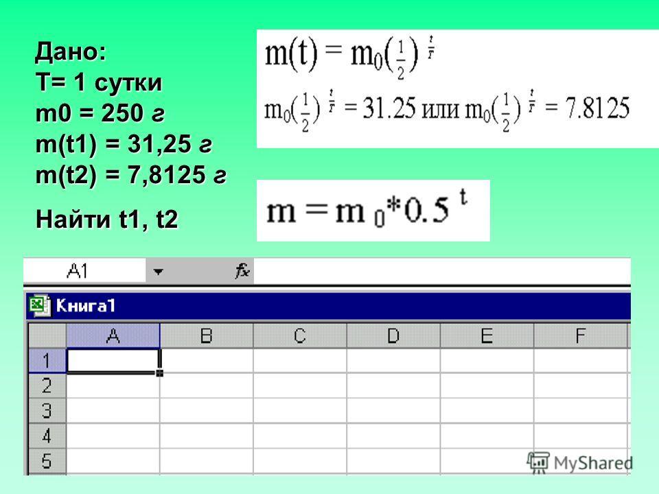 Дано: T= 1 сутки m0 = 250 г m(t1) = 31,25 г m(t2) = 7,8125 г Найти t1, t2