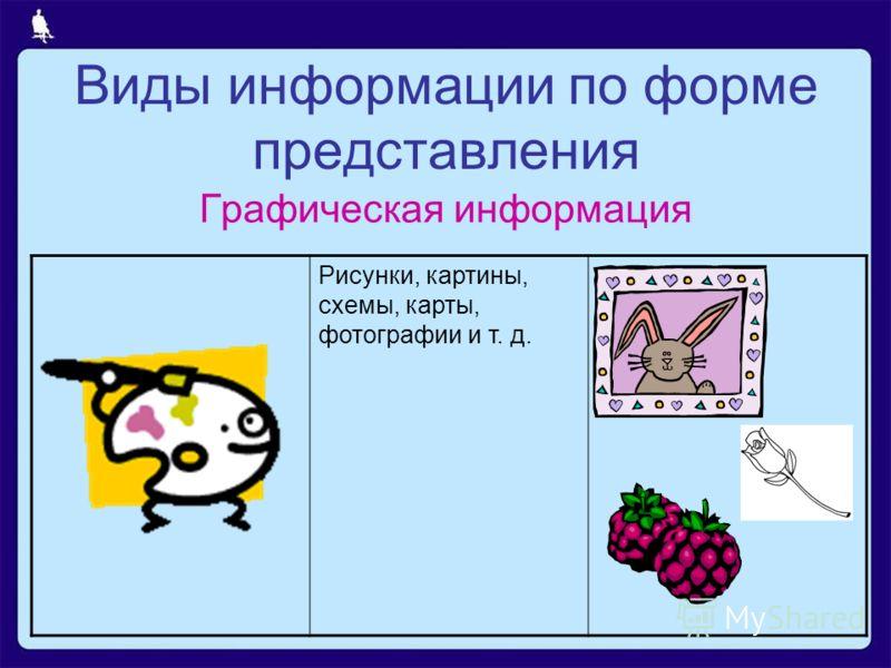 Виды информации по форме представления Графическая информация Рисунки, картины, схемы, карты, фотографии и т. д.