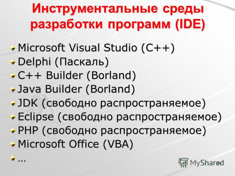 34 Инструментальные среды разработки программ (IDE) Microsoft Visual Studio (С++) Delphi (Паскаль) C++ Builder (Borland) Java Builder (Borland) JDK (свободно распространяемое) Eclipse (свободно распространяемое) PHP (свободно распространяемое) Micros
