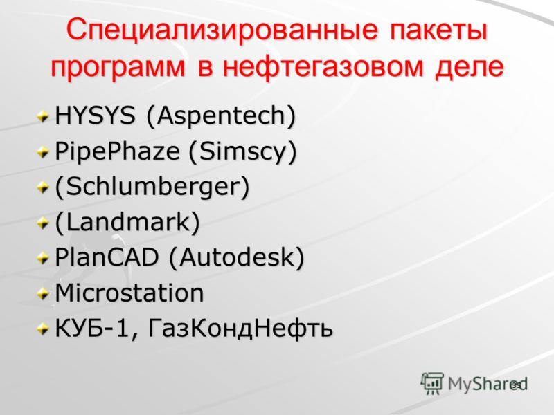 35 Специализированные пакеты программ в нефтегазовом деле HYSYS (Aspentech) PipePhaze (Simscy) (Schlumberger) (Landmark) PlanCAD (Autodesk) Microstation КУБ-1, ГазКондНефть