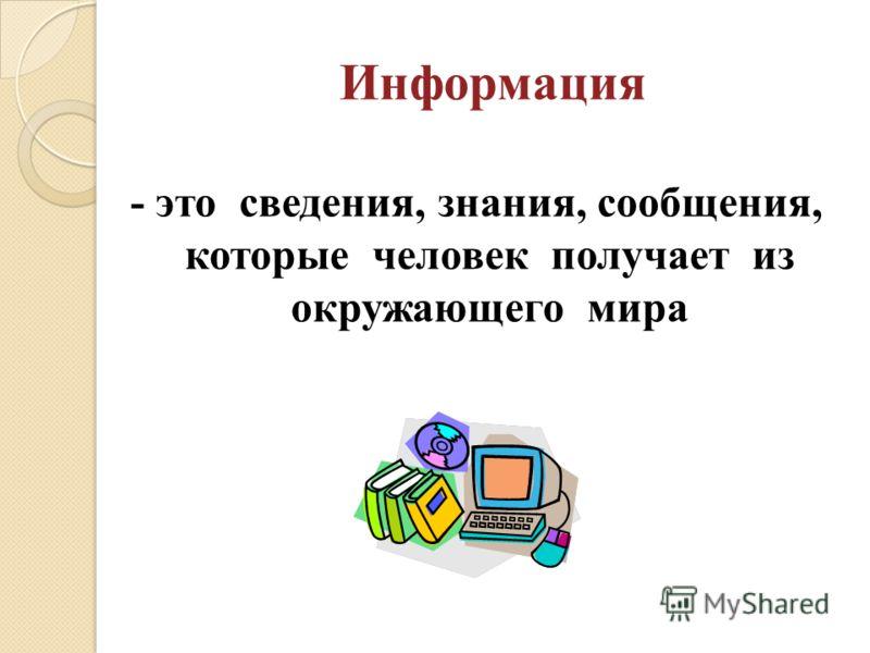 Информация - это сведения, знания, сообщения, которые человек получает из окружающего мира