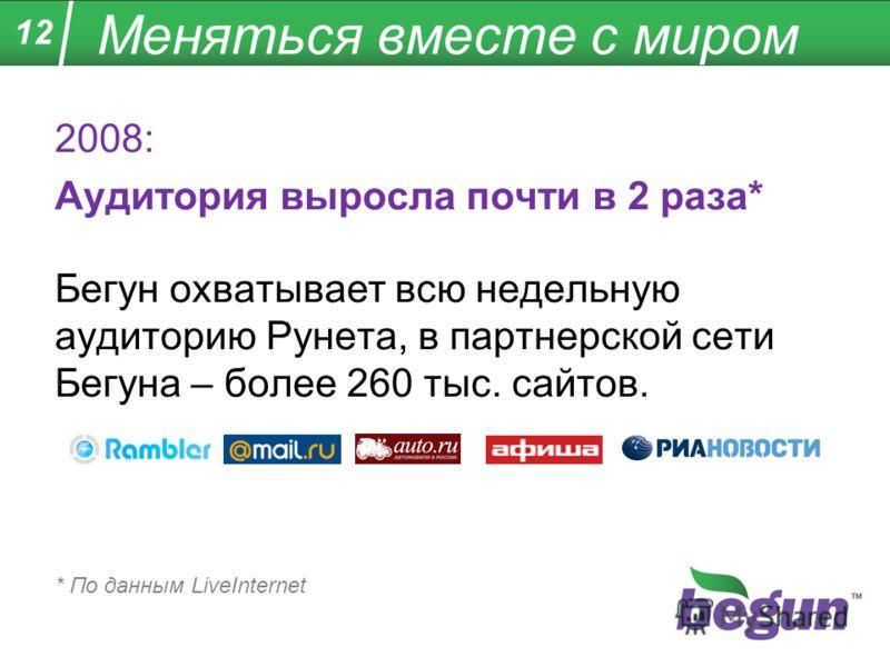Меняться вместе с миром 2008: Аудитория выросла почти в 2 раза* Бегун охватывает всю недельную аудиторию Рунета, в партнерской сети Бегуна – более 260 тыс. сайтов. * По данным LiveInternet 12