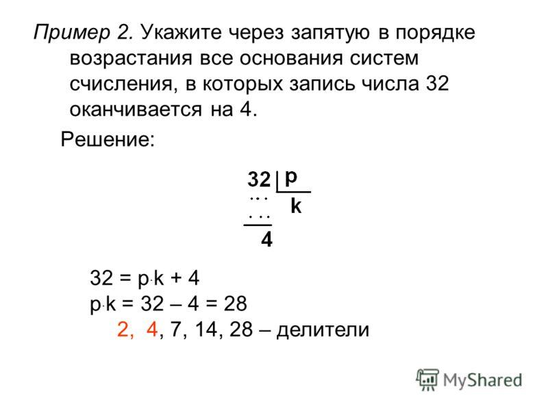 Пример 2. Укажите через запятую в порядке возрастания все основания систем счисления, в которых запись числа 32 оканчивается на 4. Решение: 32 = p · k + 4 p · k = 32 – 4 = 28 2, 4, 7, 14, 28 – делители