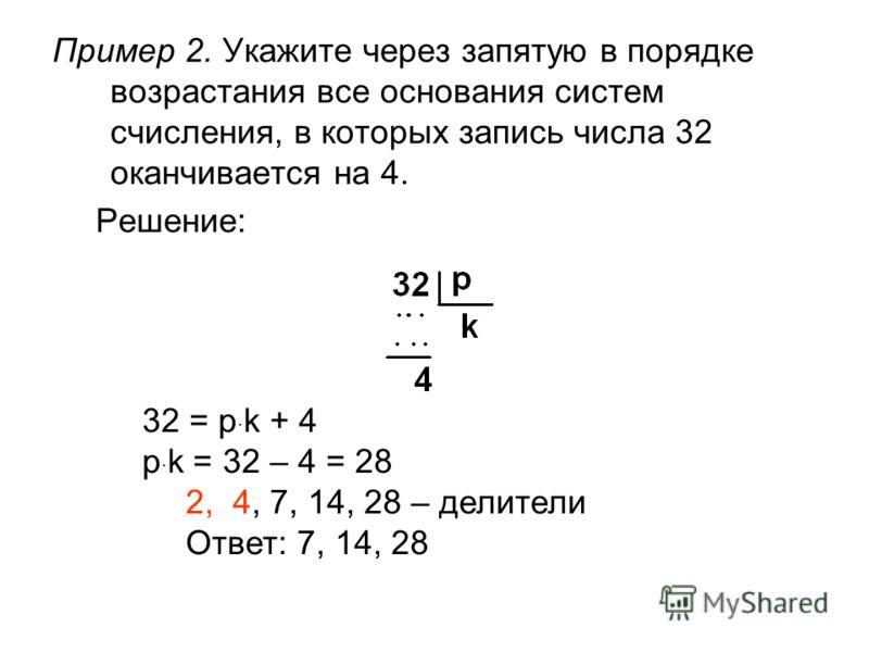 Пример 2. Укажите через запятую в порядке возрастания все основания систем счисления, в которых запись числа 32 оканчивается на 4. Решение: 32 = p · k + 4 p · k = 32 – 4 = 28 2, 4, 7, 14, 28 – делители Ответ: 7, 14, 28