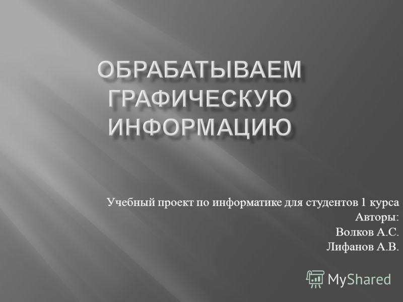 Учебный проект по информатике для студентов 1 курса Авторы : Волков А. С. Лифанов А. В.
