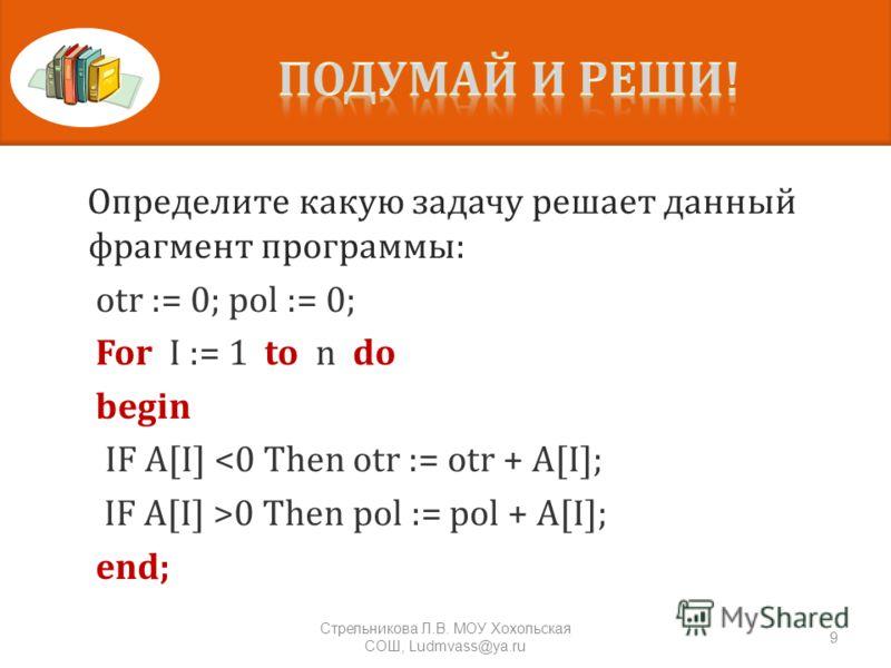 Определите какую задачу решает данный фрагмент программы: otr := 0; pol := 0; For I := 1 to n do begin IF A[I] 0 Then pol := pol + A[I]; end; 9 Стрельникова Л. В. МОУ Хохольская СОШ, Ludmvass@ya.ru