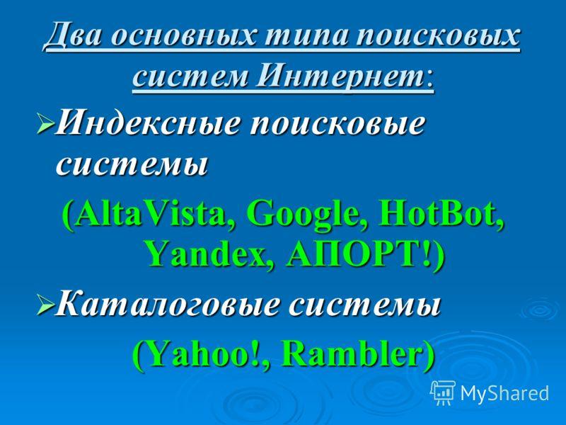 Два основных типа поисковых систем Интернет: Индексные поисковые системы Индексные поисковые системы (AltaVista, Google, HotBot, Yandex, АПОРТ!) Каталоговые системы Каталоговые системы (Yahoo!, Rambler)