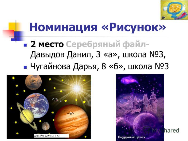 Номинация «Рисунок» 2 место Серебряный файл- Давыдов Данил, 3 «а», школа 3, Чугайнова Дарья, 8 «б», школа 3