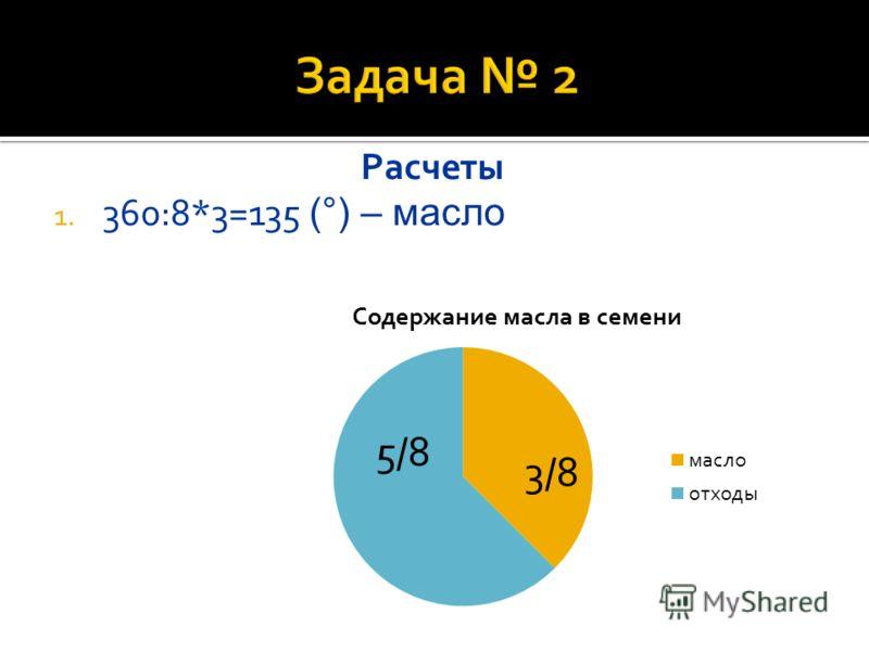 Расчеты 1. 360:8*3=135 (°) – масло