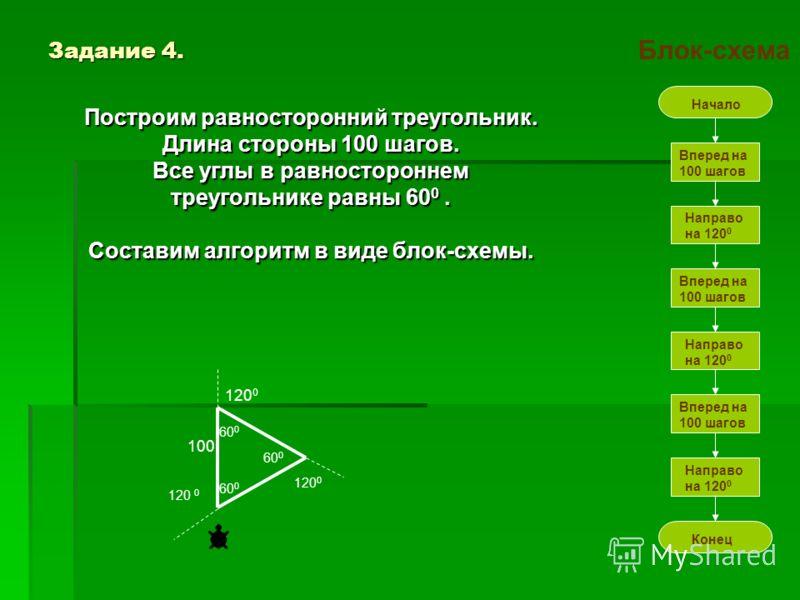 Задание 3. Задание 3. Нарисуем лесенку с тремя ступенями. Нарисуем лесенку с тремя ступенями. Размер ступеньки по ширине и высоте равен 20. Размер ступеньки по ширине и высоте равен 20. В этом задании черепашка будет двигаться поворачиваясь налево и
