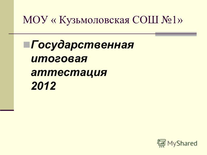 МОУ « Кузьмоловская СОШ 1» Государственная итоговая аттестация 2012