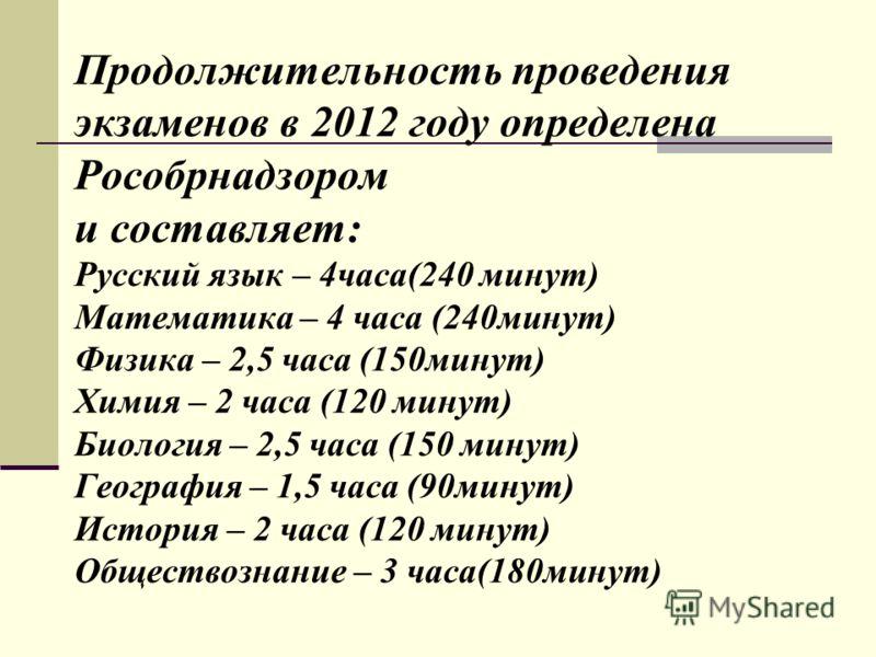 Продолжительность проведения экзаменов в 2012 году определена Рособрнадзором и составляет: Русский язык – 4часа(240 минут) Математика – 4 часа (240минут) Физика – 2,5 часа (150минут) Химия – 2 часа (120 минут) Биология – 2,5 часа (150 минут) Географи
